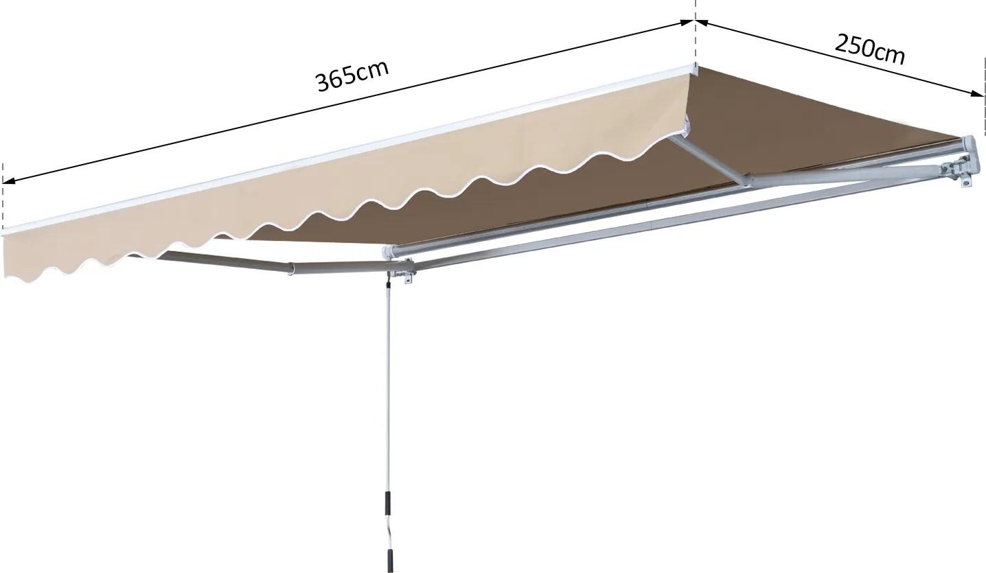 Main image of outsunny tenda da sole avvolgibile manuale esterno tessuto di. Tenda Da Sole Avvolgibile 365x250 Cm Vivagarden 840 175cw Prezzo In Offerta Su Prezzoforte