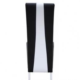 table 180 cm 6 chaises lina table pour salle a manger noire et blanche brillante avec 6 chaises simili cuir design moderne
