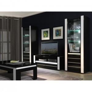 ensemble meuble de salon lina blanc et noir laque