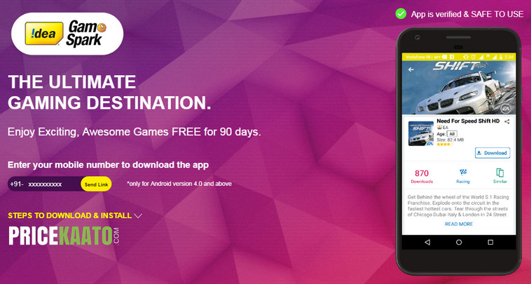 Idea Is Offering 512MB Data & 90 Days Subscription For Free On Their Game Spark App