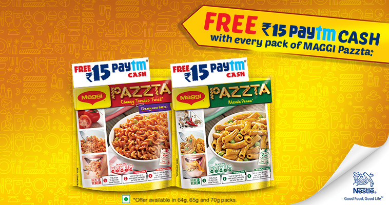 Get Rs 15 Free Paytm Cash With Every Pack Of Maggi Pazzta