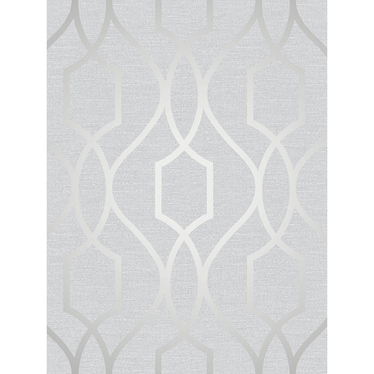 Apex Geometric Trellis Wallpaper Stone And Silver Fine