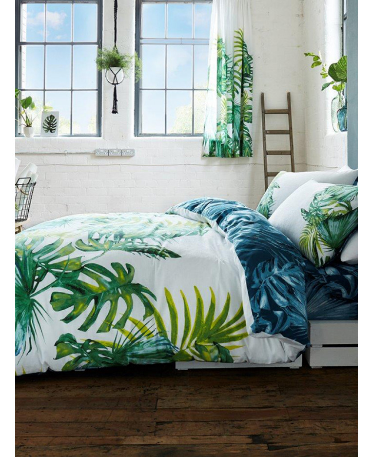 Botanical Palm Leaves Double Duvet Cover And Pillowcase