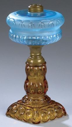 Oil Lamp Pressed Glass Adams Amp Co Moon Amp Star Blue