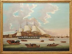 Sunqua Oil On Canvas Marine Painting Signed Ship Joshua