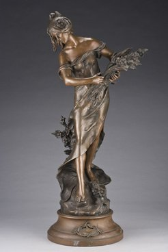Spelter Sculpture Moreau Auguste After Young Woman