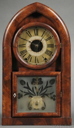 Shelf Clock Brewster EC Beehive Mahogany Etched Tablet 8 Day Fusee Movement 19 Inch