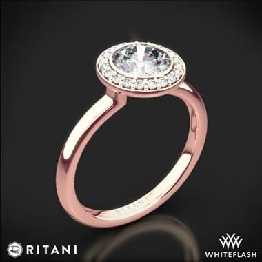 18k Rose Gold Ritani 1rz1851 Bezel Set Halo Diamond Solitaire Engagement Ring Amp Whiteflash Amp 1262