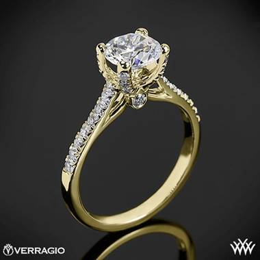 18k Yellow Gold Verragio ENG 0371 4 Prong Petite Pave
