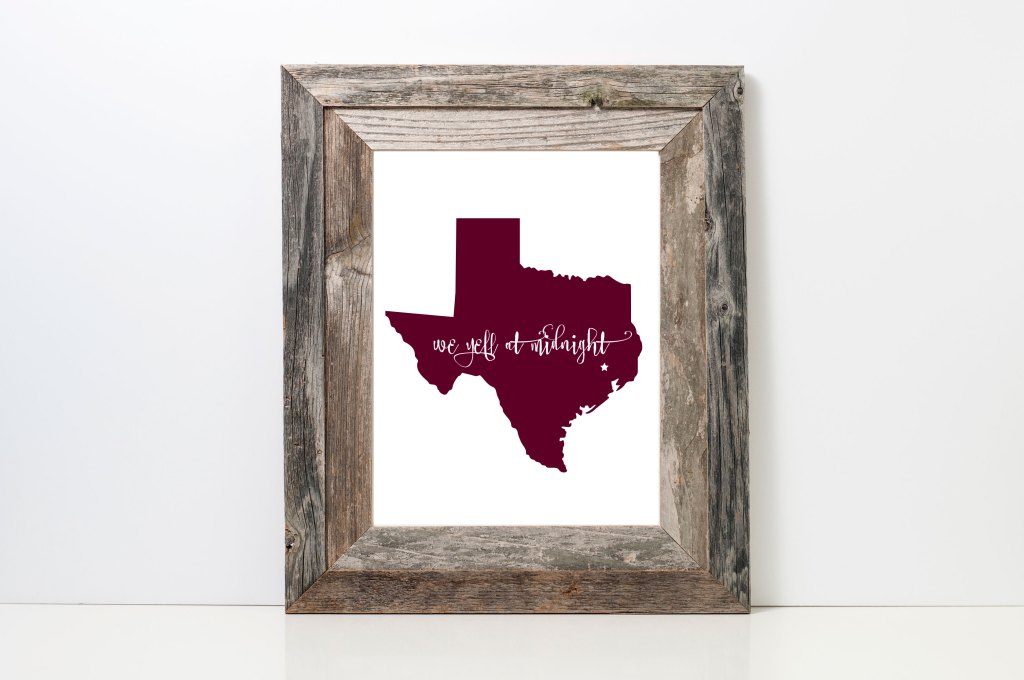 We Yell at Midnight Art Print | Prickly Pear Design Co. | Texas A&M Aggies | Midnight Yell | Texas A&M Grads | Texas A&M Football