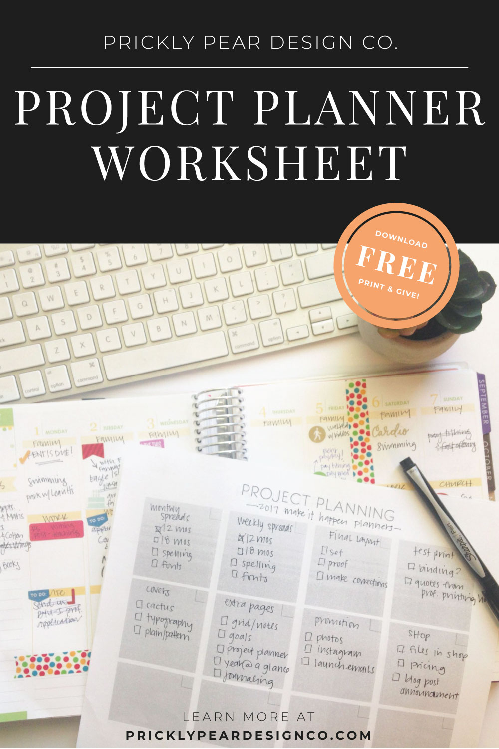 Project Planner Worksheet from Prickly Pear Design Co.
