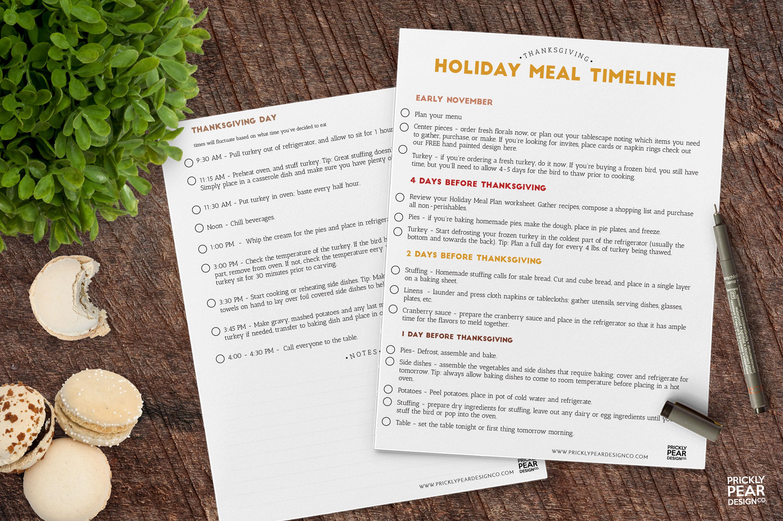 Free Thanksgiving Dinner Prep Timeline