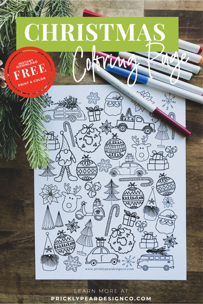 Christmas Coloring Page from Prickly Pear Design Co.