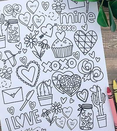 Valentine's Day Coloring Page - Engineer Print Coloring Pages by Prickly Pear Design Co.