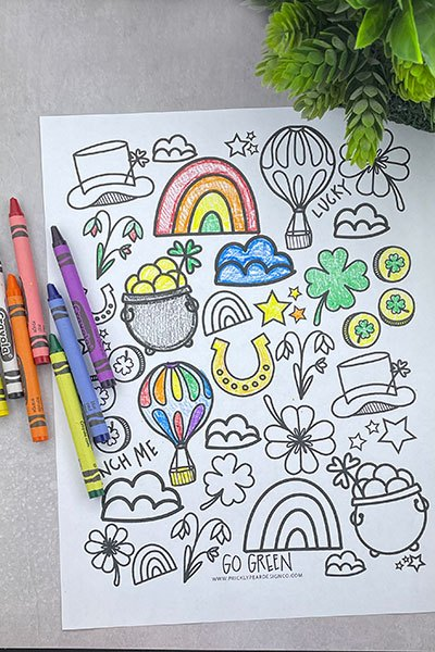 St. Patrick's Day Coloring Page from Prickly Pear Design Co.