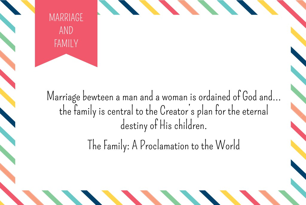August YW Monthly Theme Card | Marriage and Family | The Family Proclamation | Prickly Pear Design Co. | Graphic Design DIY | Young Women Printables