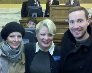 Beth Burman Frazee, Rep. Ellie Hill (D-Missoula) and Paul Vestal, and it is from Ellie's swearing in ceremony during the 2011 Montana Legislature.