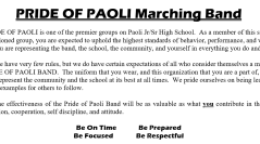 The Pride of Paoli Marching Band Handbook 2021