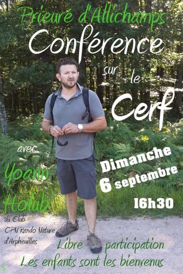 Saison 2015 – Conférence de Yoann Holub sur le cerf, le 6 septembre à 16h30