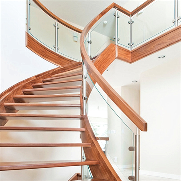 Luxury Indoor Solid Wood Antique Curved Staircase With U | Wooden Stairs Railing Design With Glass
