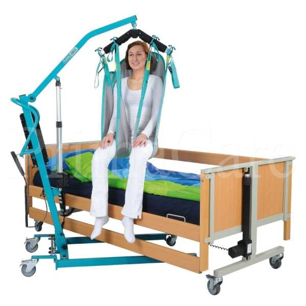 Patient lifter hoist - aks - foldy - with person over home care bed