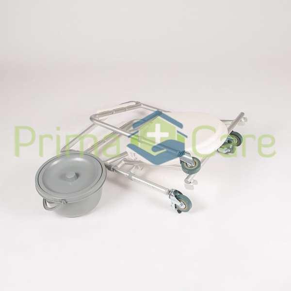 Commode - Aluminium - Folding - With Wheels - Folded