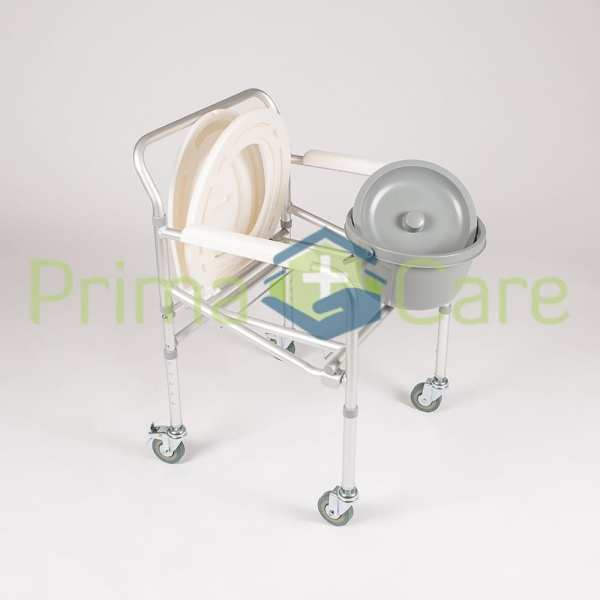 Commode - Aluminium - Folding - With Wheels - removable bucket