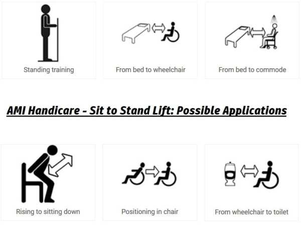 AMI - HandiCare - Sit to Stand Transfer Lifter - Functionality and user possibilities