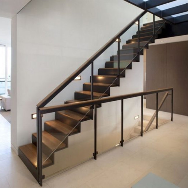 Straight Mild Steel Glass Modern Floating Staircase Prefab Steel   Stainless Steel Staircase Railing With Glass   Infill   Custom Glass   Indoor   Panel   Modern