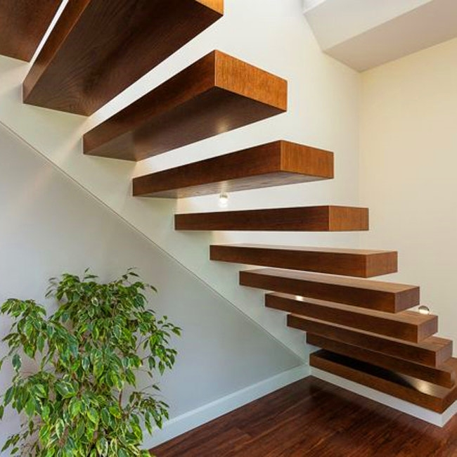 Construction Building Invisible Stringer Timber Stair Loft | Solid Wood Stair Treads | Stairway | Commercial | Standard Length 48 | Domestic Timber Stair | Stainless Steel Anti Slip Stair
