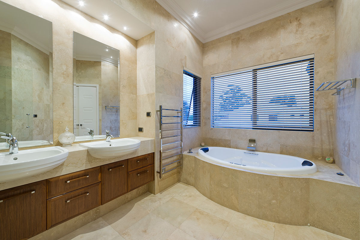 Stunning bathroom floor to ceiling tiles spa bath stylish double vanity Soth Perth 3 level home
