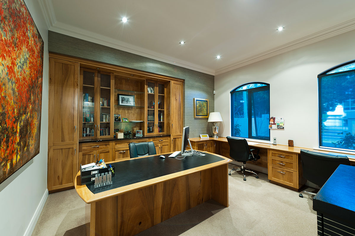 The difference in a prima home is its uniqueness and custom design shown in the wooden office furniture for south perth custom home