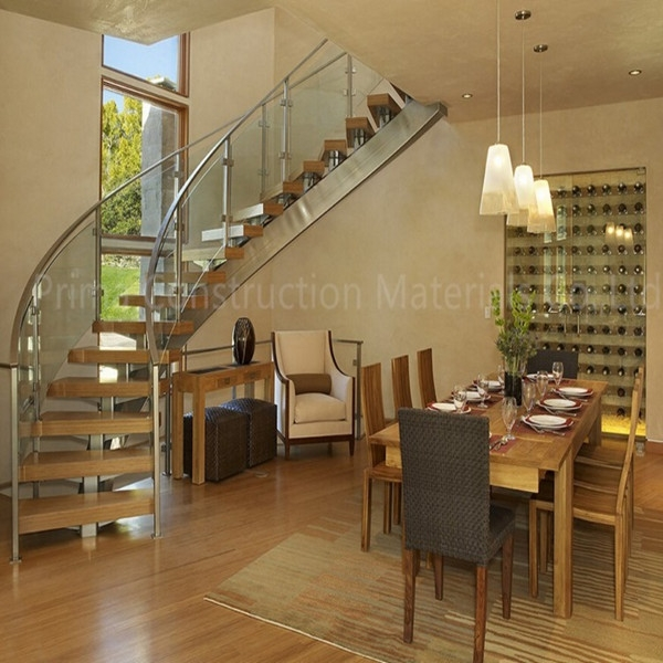Solid Wood Steps Round Staircase Design   Solid Wood Steps For Stairs   Staircase   Iron Rod   Oak Veneer   Rounded   Stained