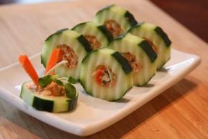Salmon Salad Stuffed Cucumber Rolls