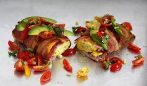 Bacon Wrapped Breakfast Burrito with Pico de Gallo (Paleo & Whole30)