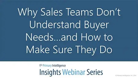 Webinar: Understanding Buyer Needs
