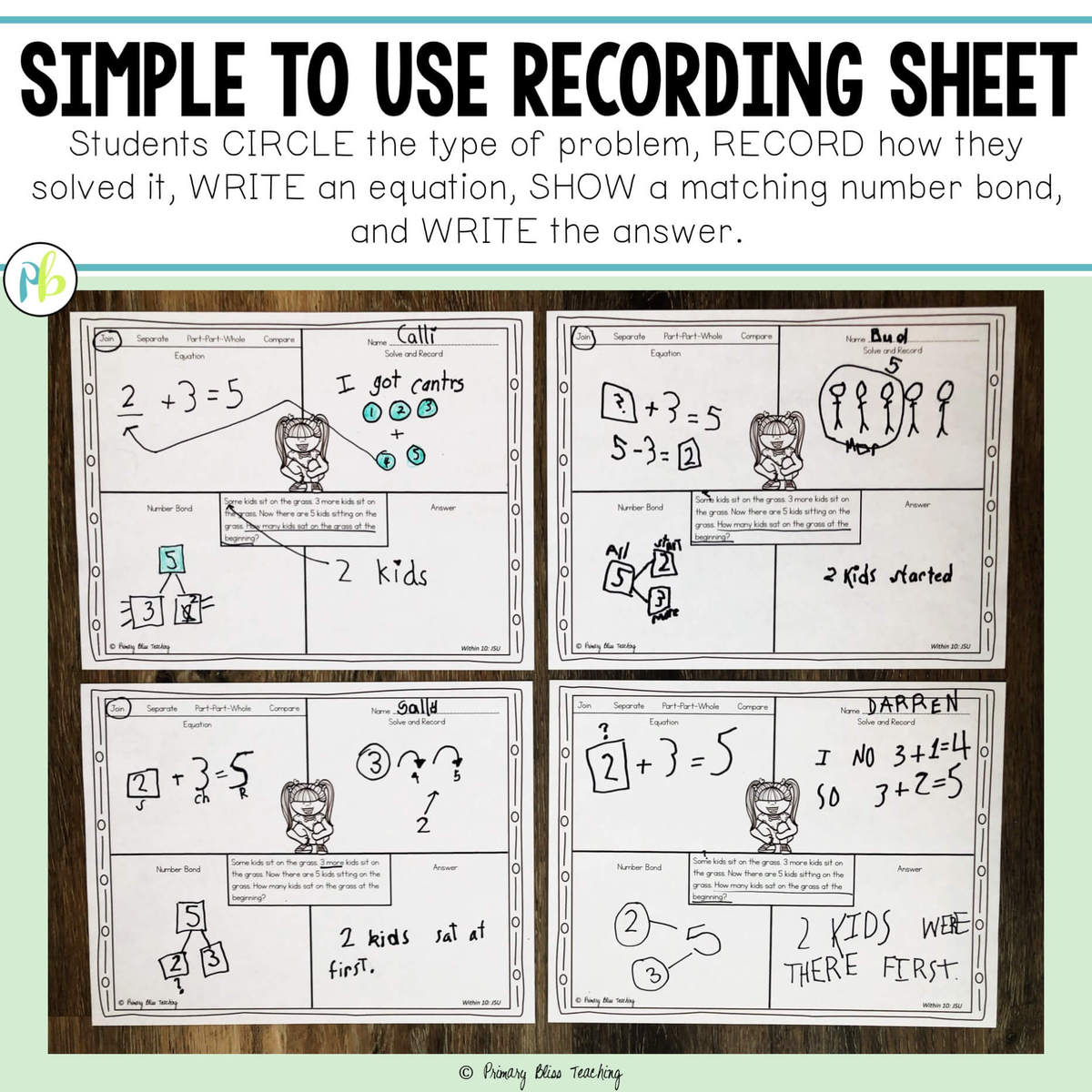 Printables Of Story Problems For First Grade