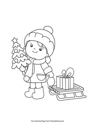 Girl With Christmas Tree And Present Coloring Page Free Printable Pdf From Primarygames