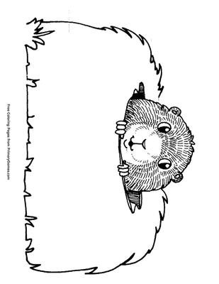 Peeking Groundhog Coloring Page Free Printable Pdf From Primarygames