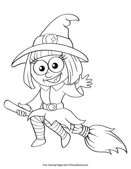 Cute Witch Coloring Page Free Printable Pdf From Primarygames