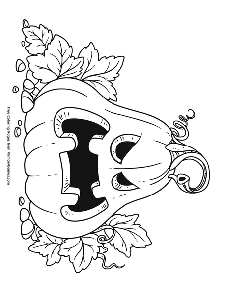 Scary Pumpkin Coloring Page Free Printable Pdf From Primarygames