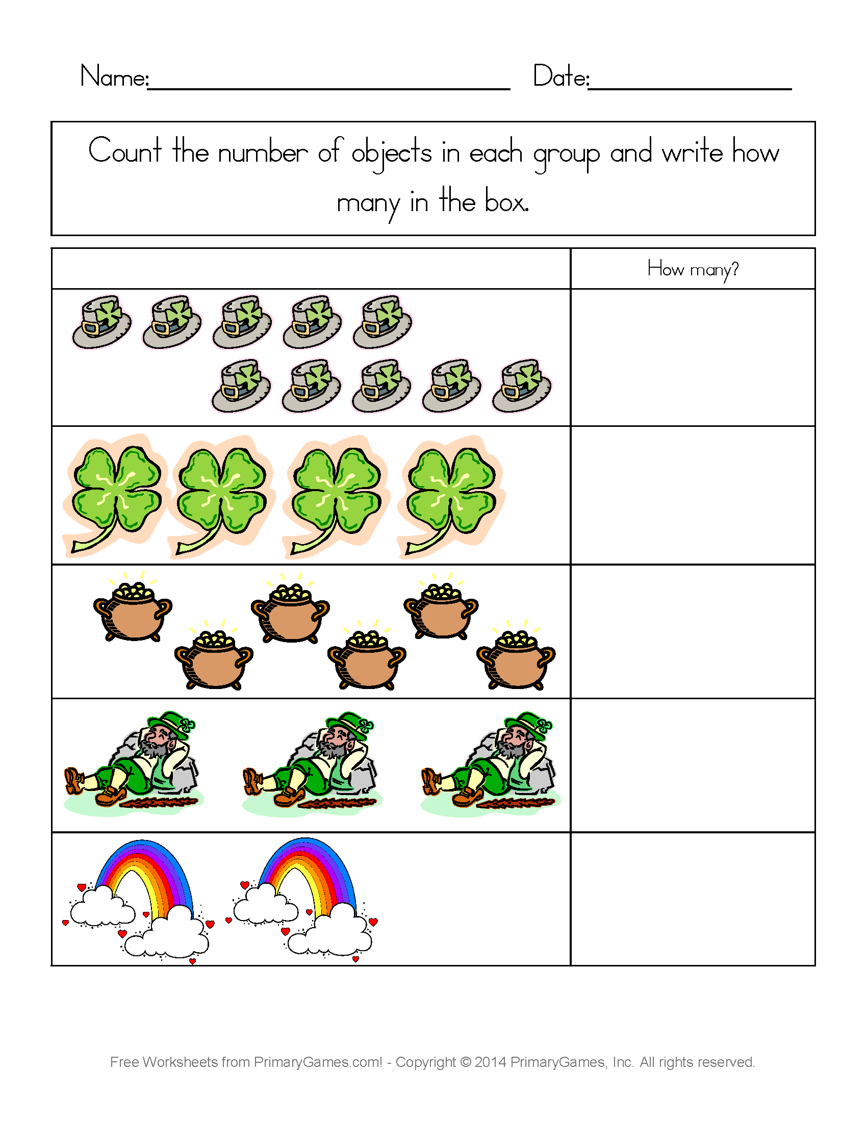 St Patrick S Day Worksheets St Patrick S Day Counting