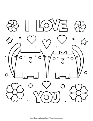 I Love You Coloring Page Free Printable Pdf From Primarygames