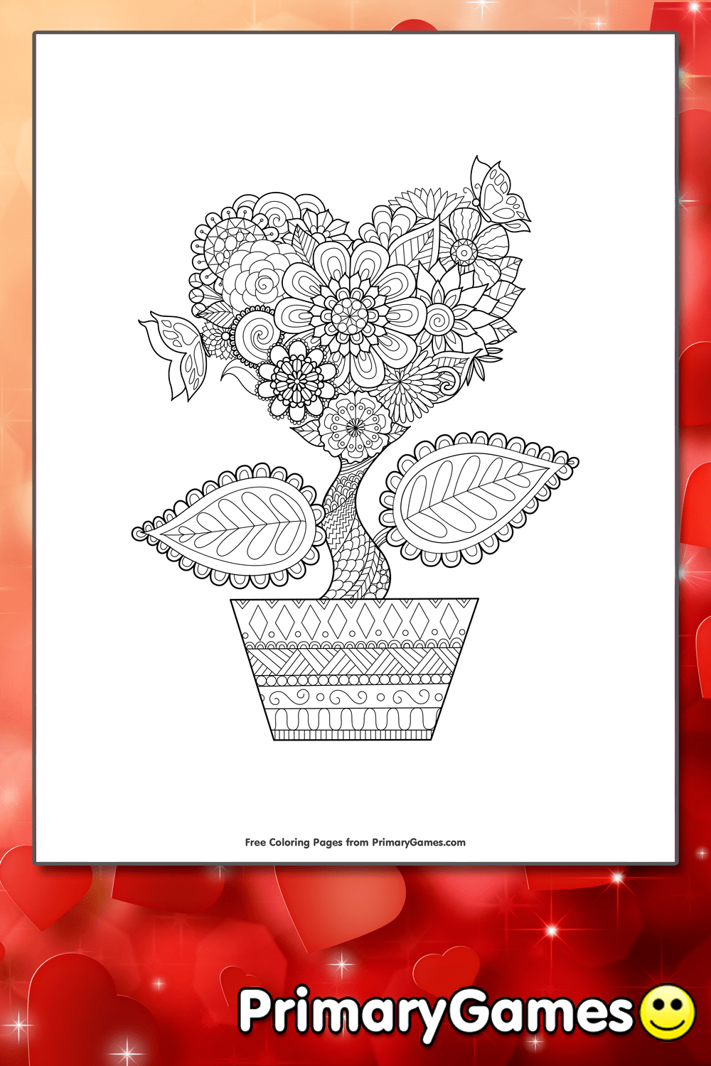 Heart Flower Coloring Page Printable Valentines Day