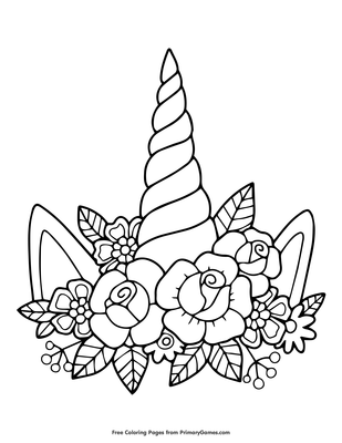 Unicorn Horn And Flowers Coloring Page Free Printable Pdf From Primarygames