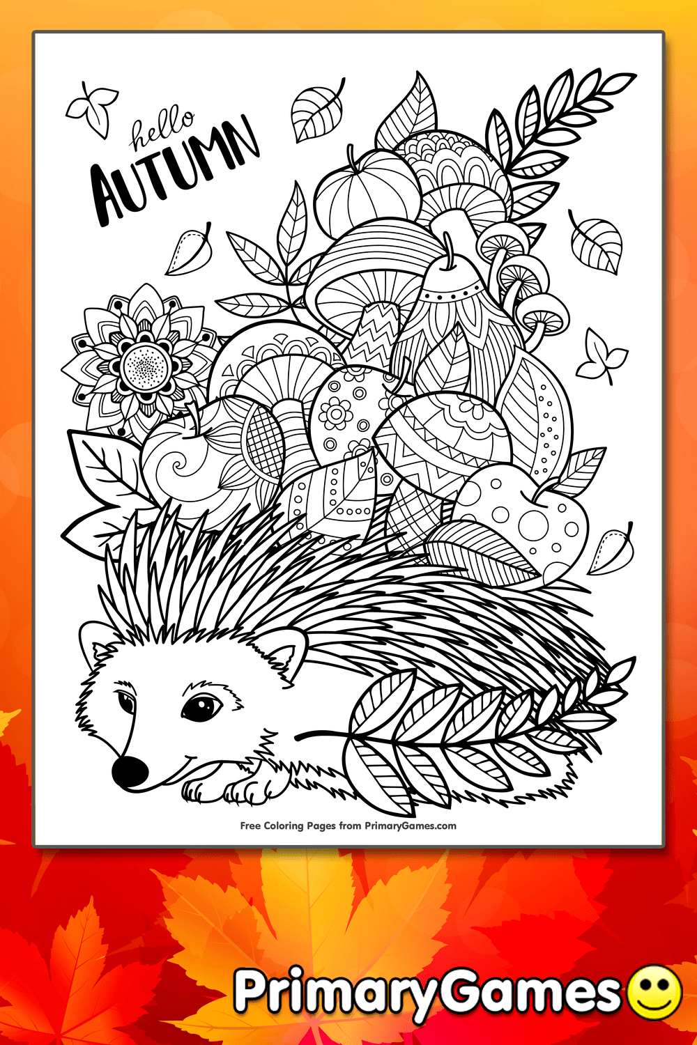 Autumn Zentangle Coloring Page Printable Fall Coloring