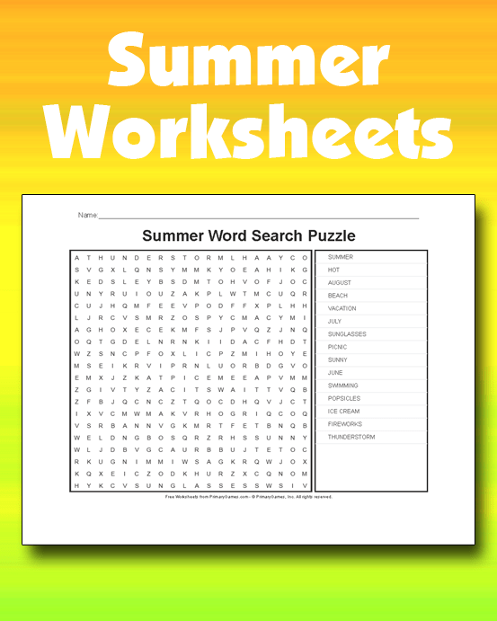 Summer Worksheets Free Online Games At Primarygames