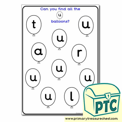 Letter U Balloon Activity Sheet