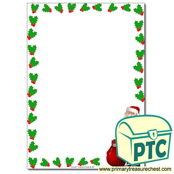 Santa With Holly Page Border Writing Frame No Lines