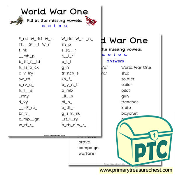 World War One Missing Vowels Worksheet
